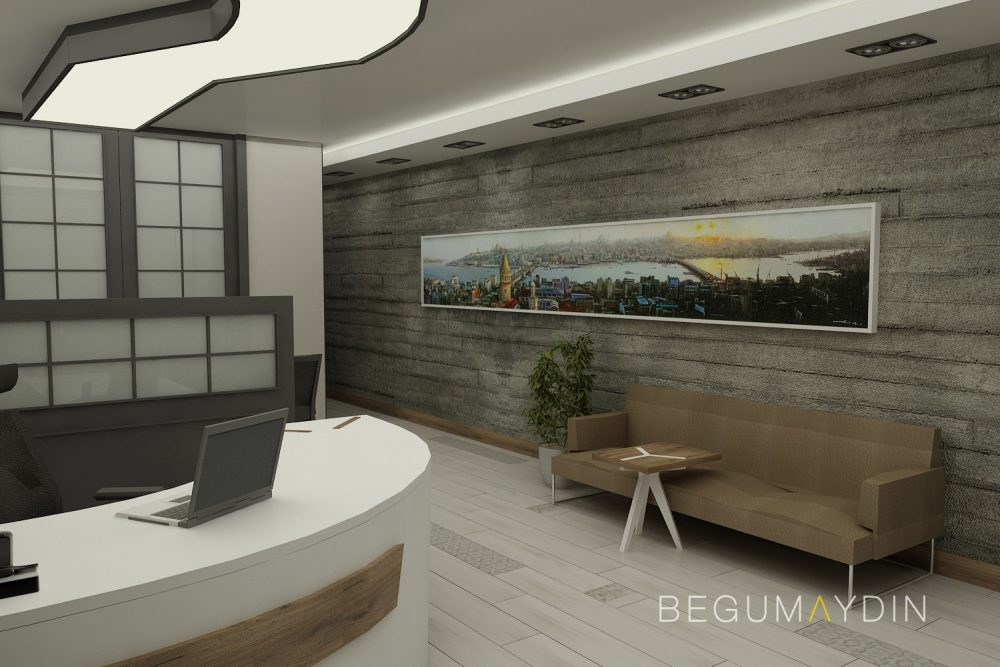 lawyer office design with istanbul painting