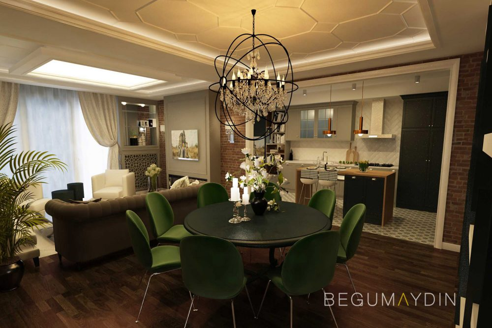 White 3 Seaters Sofa and Green Table in Big Livingroom Design Ideas